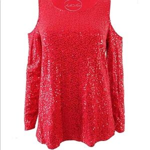 Red Sequined Cold Shoulder Top